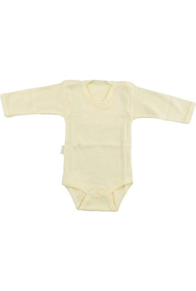 Bebek Sarı Body Pamuklu Uzun Kol Çıtçıtlı Badi SB157