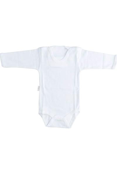 Bebek Ekru Body Pamuklu Uzun Kol Çıtçıtlı Badi SB157