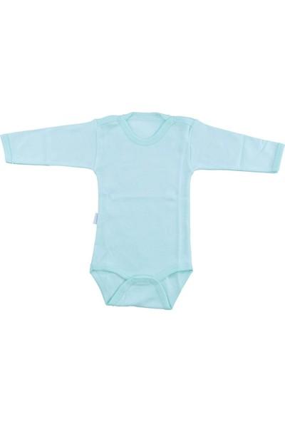 Bebek Yeşil Body Pamuklu Uzun Kol Çıtçıtlı Badi SB157