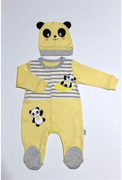 Sebi Bebe 7001 Bebek Patikli Sarı Tulum Şapka Takım