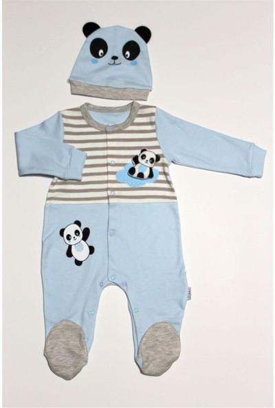 Sebi Bebe 7001 Erkek Bebek Patikli Mavi Tulum Şapka Takım