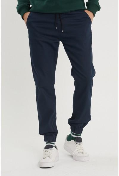 Serseri Jeans Koyu Petrol Mavisi Paçası Beli Lastikli Jogger Pantolon
