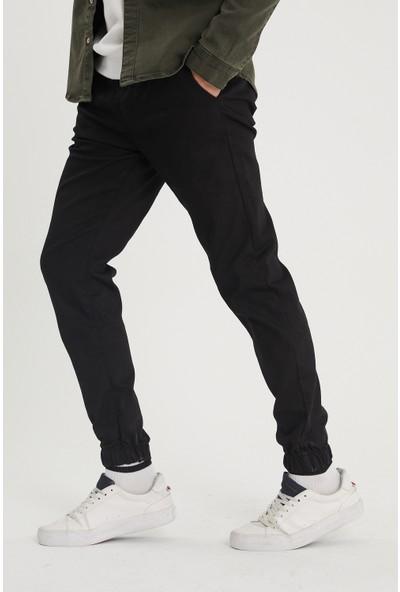 Serseri Jeans Siyah Paçası Beli Lastikli Jogger Pantolon