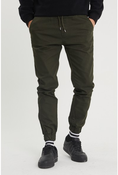 Serseri Jeans Haki Paçası Beli Lastikli Jogger Pantolon