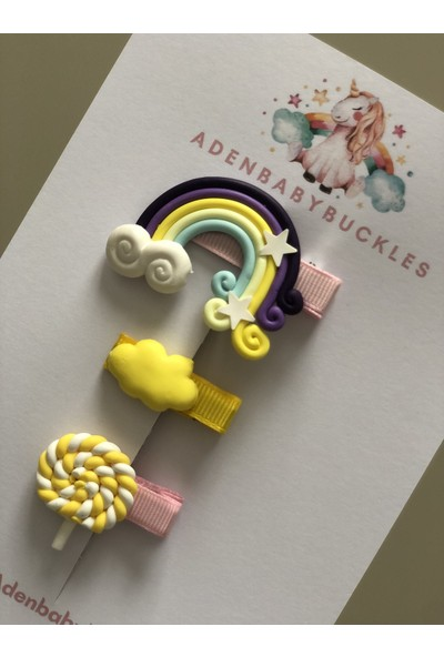 Aden Babybuckles 3 Parça Gökkuşağı Klipsli Bebek Çocuk Toka Seti