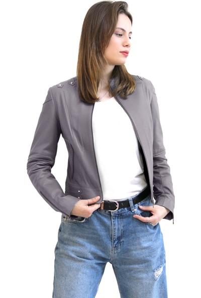 Vigor Leather Freesia Gri Kadın Deri Ceket
