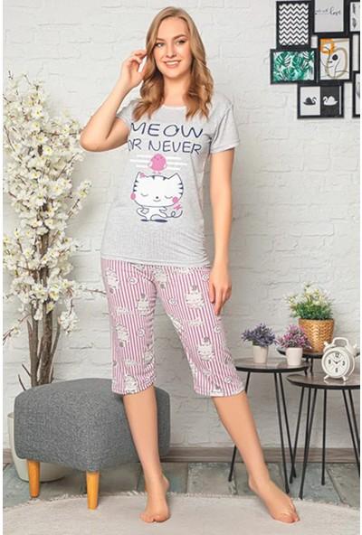 Rinda Meow Or Never Yazılık Baskılı Kısakol & Kapri Kadın Pijama Takımı