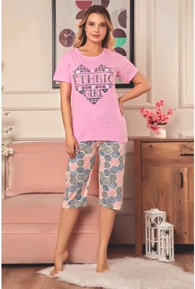 Rinda Ethnic Girl Kısa Kol Kapri Kadın Pijama