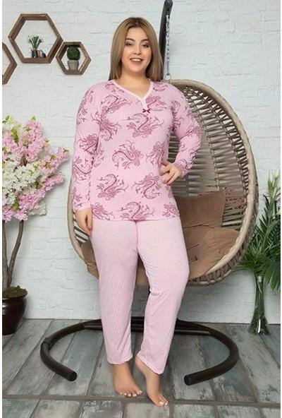 Rinda Çizgili Uzun Kol Baskılı Kadın Pijama Takımı