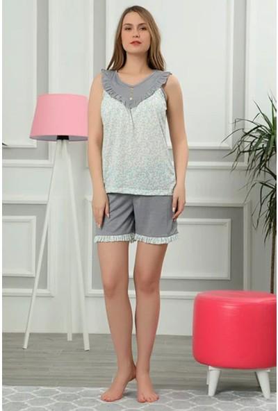 Wesha Düğme Detaylı Şortlu & Askılı Kadın Pijama Takımı