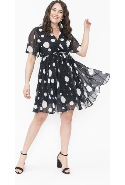 Gökmen Kotan Şifon Siyah Beyaz Elbise