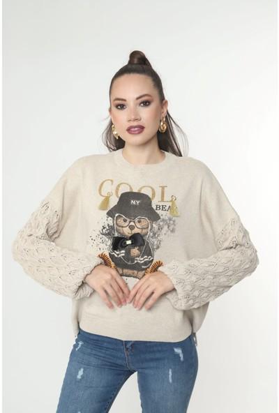 Gommeda Ayıcık Baskılı Salaş Triko Kazak Kolu Desenli Taşlı Fiyonklu