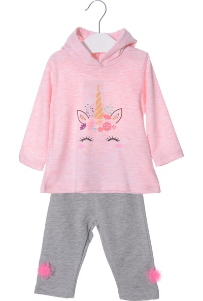 Serkon Kız Bebek Çocuk 2'li Unicorn Kapüşonlu Takım 6/24 Ay Serkon 4841