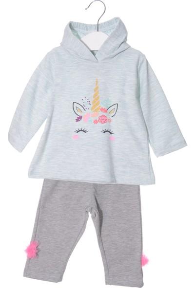 Serkon Kız Bebek Çocuk 2'li Unicorn Kapüşonlu Takım 6/24 Ay Serkon 4846