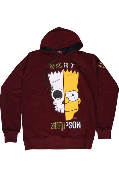 The Simpsons Bart (Skull) Kapüşonlu Sweatshirt Hoodie Bordo