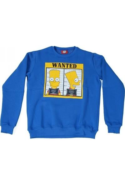 The Simpsons Bart Wanted Sweatshirt Mavi