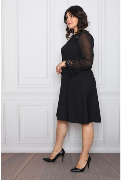 Element's Siyah Dantel ve Şifon Detaylı Elbise ETS580505445 Siyah - 42