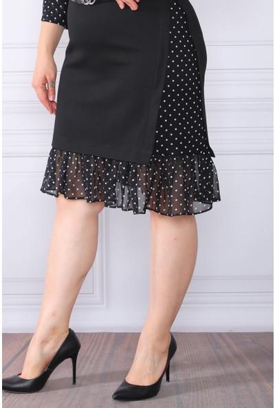 Element's Siyah Puantiyeli ve Şifon Desenli Elbise ETS4521523 46 - Siyah