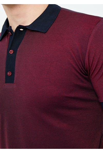 Adze Erkek Bordo Düğmeli Polo Yaka T-Shirt