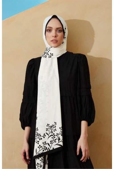 Modakaşmir Inci Serisi Papaver Desenli Şal Beyaz-Siyah