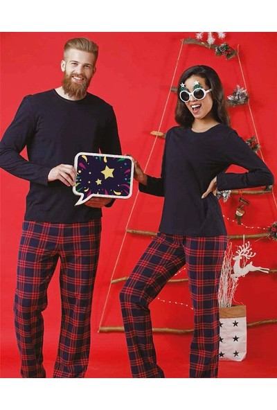 Pembishomewear Erkek Kırmızı Lacivert Ekoseli Uzun Kollu Sevgili Çift Pijama Kombini