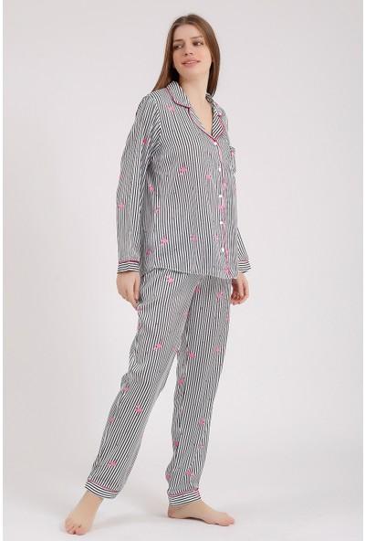 Besimma Siyah Beyaz Çizgili Flamingo Desenli Uzun Kollu Ipek Saten Pijama Takımı