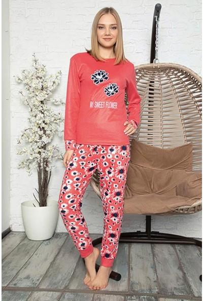 Rinda My Sweet Flower Temalı Kadın Polar Pijama Takımı