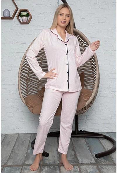 Rinda Kalp Desenli Düğmeli Kadın Pijama Takımı