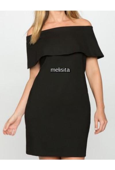 Melisita Deon Büyük Beden Siyah Elbise