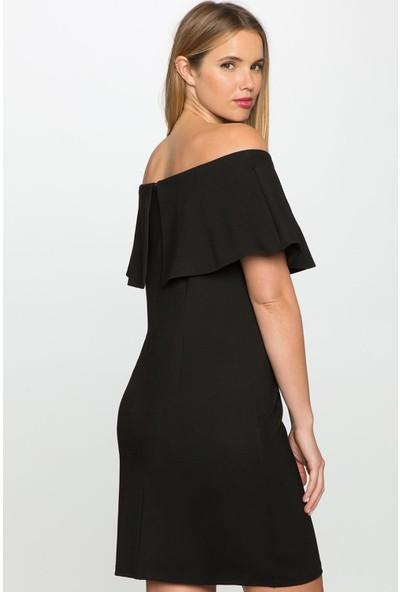Melisita Deonty Büyük Beden Siyah Elbise