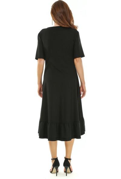 Melisita Madra Büyük Beden Penye Elbise