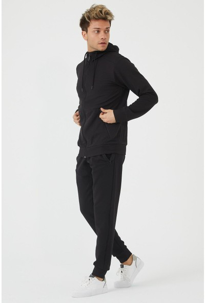 Dawrazz Erkek Siyah Kapüşonlu Eşofman Takımı