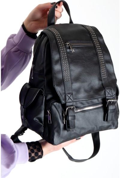 Byhakan 510 Yıkama Deri Kadın Sırt Çantası Siyah