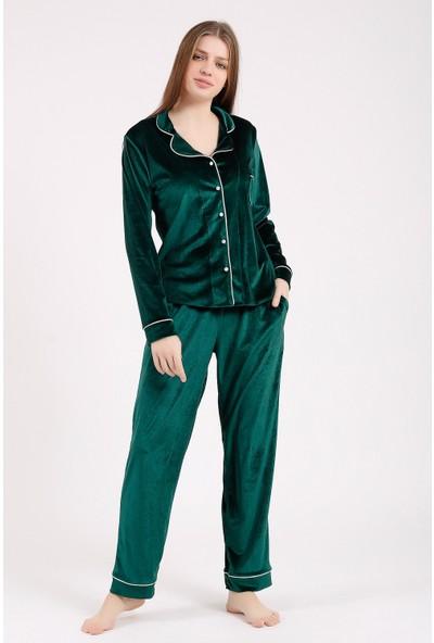 Besimma Yeşil Uzun Kollu Kadife Pijama Takımı
