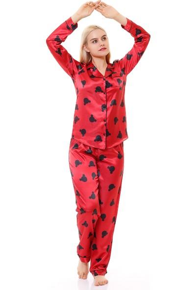 Besimma Kırmızı Mickey Kafa Uzun Kollu Ipek Saten Pijama Takımı