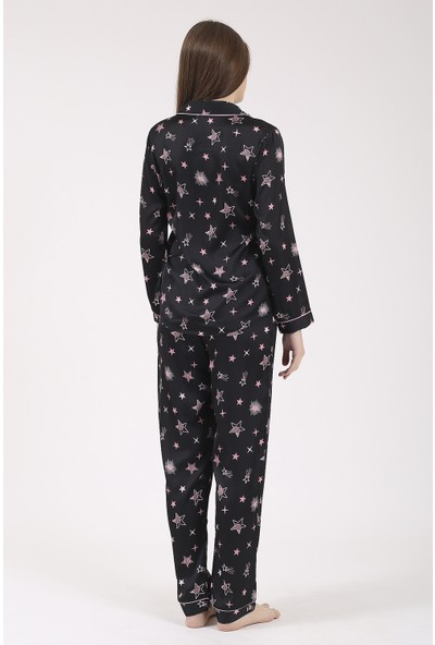 Besimma Siyah Pembe Yıldızlı Uzun Kollu Ipek Saten Pijama Takımı