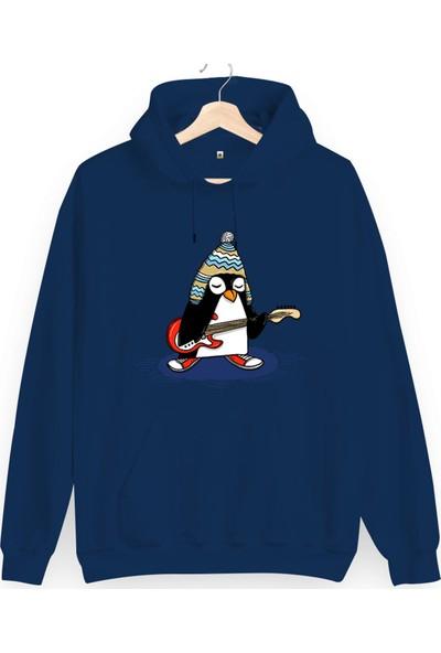 Tisho Rock Penguen Baskılı Unisex Kapüşonlu Sweatshirt