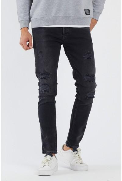 Erkek Gri Yırtık Super Skinny Jeans