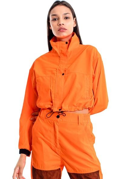 Denim Republic Kadın Neon Turuncu Naylon Eşofman Takımı