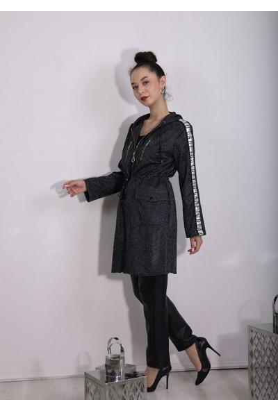 Moda Ilgi Kapüşonlu Şeritli Uzun Hırka