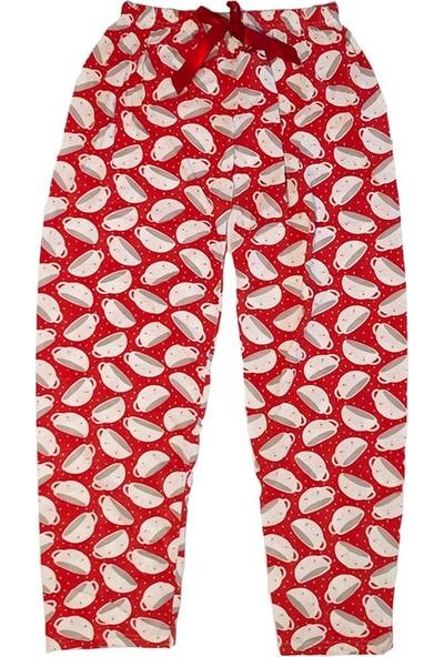 AlpCollection Bayan Kırmızı Fincan Beli Lastikli Kadın Pamuklu Tek Pijama Alt Large