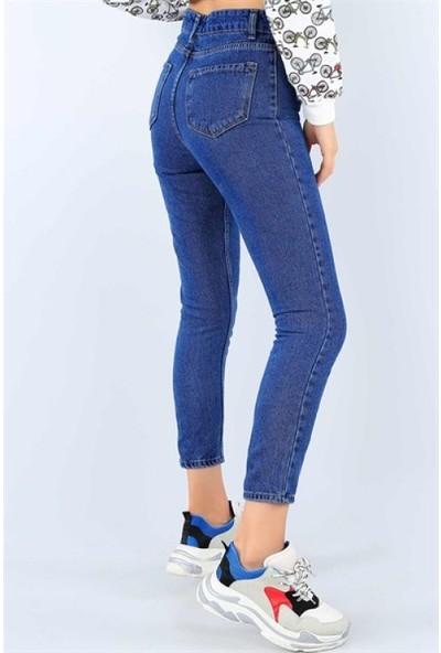 Gigi Gigigiyim Yüksek Bel Mavi Bayan Kot Pantolon