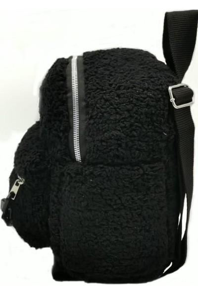 Modames Kadın Siyah Plastik Zincirli Peluş Omuz Çantası