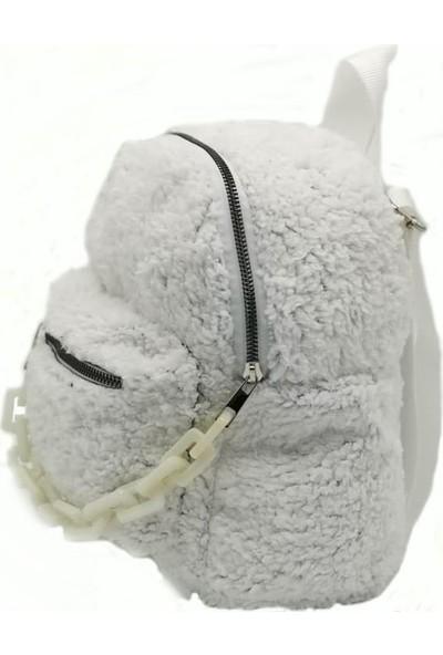 Modames Kadın Beyaz Plastik Zincirli Peluş Omuz Çantası