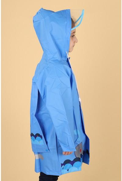Sanbe 905 S 7001 % 100 Eva Erkek Çocuk Su Geçirmez Yağmurluk Mavi