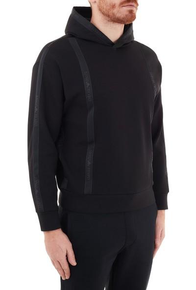 Emporio Armani Şerit Detaylı Kapüşonlu Pamuklu Erkek Sweat 6H1M82 1jhsz 0999