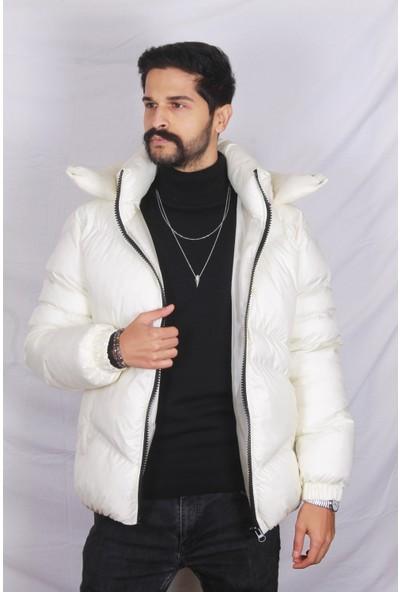 Erkek Beyaz Tam Kışlık Kapüşonlu Şişme Mont