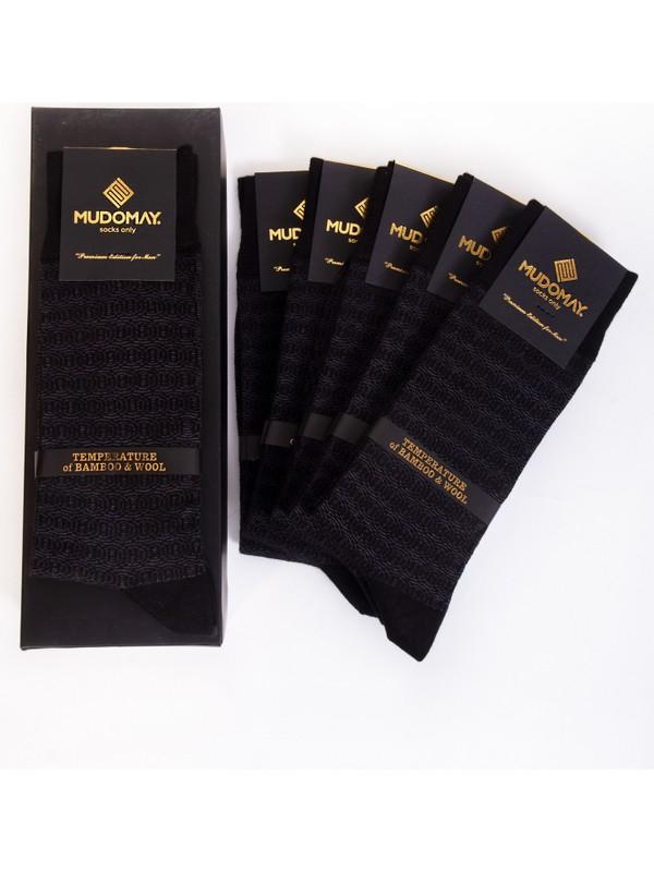 Mudomay 6'lı Dikişsiz Bambu Yün Kışlık Siyah Erkek Çorap