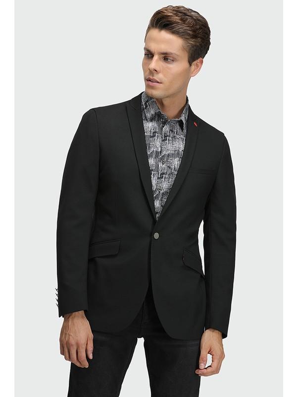 Twn Slim Fit Siyah Armürlü Kumaş Ceket