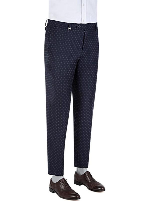 Tween Slim Fit Lacivert Desenli Kumaş Pantolon